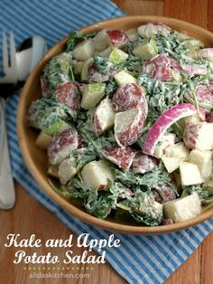 Kale and Apple Potato Salad. Kale and Apple Potato Salad Healthy Salad Recipes, Veggie Recipes, Vegetarian Recipes, Cooking Recipes, Free Recipes, Diabetic Salads, Veggie Bbq, Cat Recipes, Salads