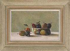 Stephen Rose (1960- ), Colours of autumn (2012), oil on canvas, 24.1 x 39.4 cm. Reproduction 20th century Continental artist's convex frame with painted finish