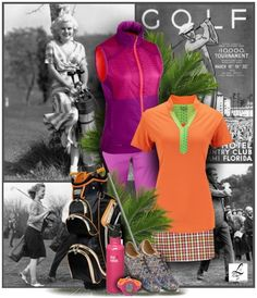 Golf, now & then. The bright & bold outfit over the black & white golf background from the past. Cool! Only at lorisgolfshoppe.polyvore.com  #golf #fashion #ootd #lorisgolfshoppe