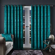 Dunelm Marbled Effect Weave Fully Lined Teal Blue Diablo Marble Eyelet Curtains Silver Curtains, Teal Blinds, Curtains Dunelm, Teal Blue Color, Colour, Teal Living Rooms, Home Look, Color