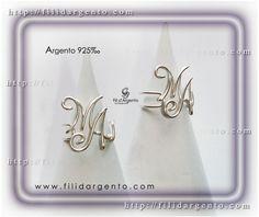 """Anello con iniziale """"M-A"""" Wire in Argento 925‰ / Ring Initial """"M-A"""" Wire Silver 925‰"""