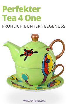 Ein echtes Designerstück ist die Tea4One Tasse. Dank eleganter Rundungen und kunstvoller Handbemalung ist sie auch ein großartiges Geschenk für Teeliebhaber. Genieße Deinen Tee! #teezeit #teeliebhaber Jasmin Tee, Oolong Tee, Mate Tee, Tee Set, Tea For One, Modern Art, Tea Pots, Layouts, Tableware