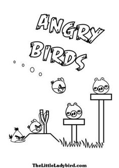 coloring page of the red angry birds yellow angry bird and the pigs with a