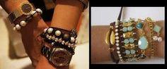 opções de uso de pulseiras de courinho com relógios e pulseiras diversas