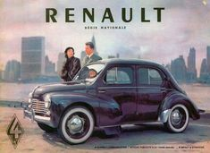 "1954 Renault I had one of these back in the The kids called it 'the Knowles Rolls"". Plus American Graffiti, Vintage Advertisements, Vintage Ads, Vintage Metal, Car Museum, Import Cars, Car Posters, Car Advertising, Small Cars"