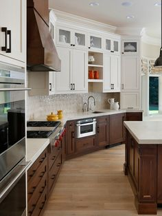 combination stained and painted cabinets kitchen - Google Search