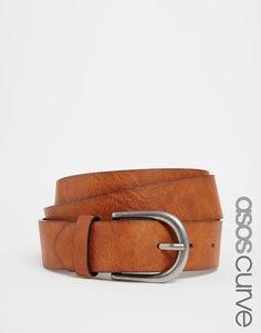 Image 1 ofASOS CURVE ASOS Vintage Tan Jeans Belt