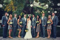 grey for both parties and throwing pink as the accent color with flowers and ties