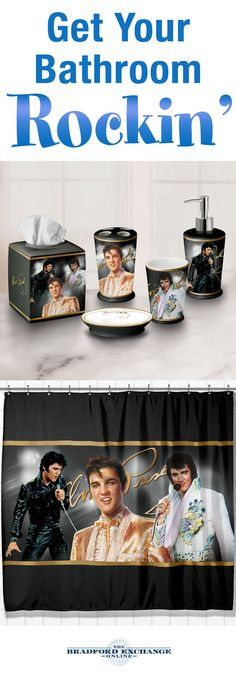 Dance and sing away the bathroom decor blues when you rock it out with the Elvis Presley Bath Ensemble Accessories Set. Order the complete set for the best value!