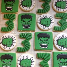 Ideas increíbles para fiestas de Hulk   Tarjetas Imprimibles Hulk Birthday Cakes, Hulk Birthday Parties, Superhero Birthday Party, Birthday Cookies, 3rd Birthday, Birthday Ideas, Superhero Cookies, Superhero Cake, Party Treats