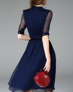 Navy Blue Silk Half Sleeve Belted Solid Midi Dress vipme.com