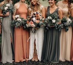 Gray bridesmaid dress v neck dress dusty orange halter dress you will like dresses fall bridemaid dresses autumn Different Bridesmaid Dresses, Mismatched Bridesmaid Dresses, Autumn Bridesmaid Dresses, Bridesmaid Bouquets, Bridal Party Dresses, Colored Wedding Dresses, Fall Wedding Bridesmaids, Fall Wedding Colors, Autumn Wedding Flowers