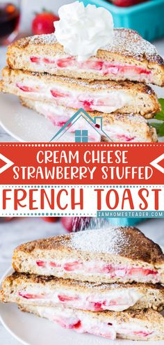 Make your spring mornings extra indulgent with this spring food idea! This Cream Cheese Strawberry Stuffed French toast is covered with a cinnamon and sugar coating and filled with cream cheese and juicy strawberries. Mornings never looked this yummy. Save this spring breakfast recipe!