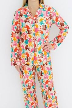 """Hoffman Fabrics' """"Woodlands"""" squirrel fabric in Taylor Swift's PJs that she wears in her """"We Are Never Ever Getting Back Together"""" music video can be yours! Her merchandising team purchased the fabric and had PJs made to sell via taylorswift.com."""