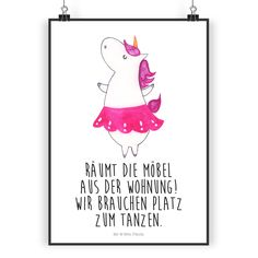 Poster DIN A5 Einhorn Ballerina aus Papier 160 Gramm  weiß - Das Original von Mr. & Mrs. Panda.  Jedes wunderschöne Poster aus dem Hause Mr. & Mrs. Panda ist mit Liebe handgezeichnet und entworfen. Wir liefern es sicher und schnell im Format DIN A5 zu dir nach Hause. Die Größe ist 148 x 210 mm.    Über unser Motiv Einhorn Ballerina  Unser Ballerina-Einhorn ist das beste Geschenk für Freunde, die gerne tanzen. Völlig egal, ob als Ballett-Tänzer, Standardtänzer oder wild auf einer Party. Das…