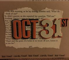 Halloween card on Kraft paper card - Oct 31st with vintage book page