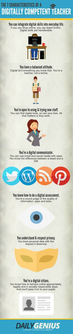 The Characteristics of a Digitally Competent Teacher Infographic – e-Learning Infographics Teaching Technology, Technology Integration, Teaching Tools, Educational Technology, Teacher Resources, Teacher Education, Digital Technology, Formation Digital, 21st Century Learning