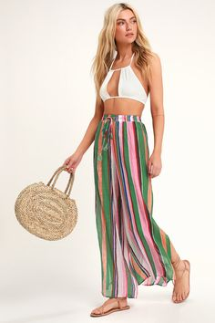 4a5ebb231e076 Eternal Vacation Green Multi Striped Swim Cover-Up Pants