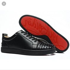 Louie Vuitton Black Studded Red Bottom Sneakers Fashion Red