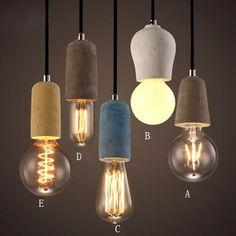 Rustic Concrete Exposed Edison Bulb Mini Pendant Light Fixture - Pendant Lights - Ceiling Lights - Lighting