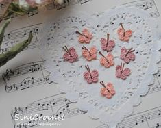 Crochet Appliques for your crafts. Dollhouse by SiniCrochet Crochet Sunflower, Crochet Butterfly, Crochet Flowers, Tiny Flowers, Colorful Flowers, Crochet Appliques, Flower Applique, Handmade Items, Handmade Gifts