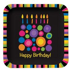 "Item PS-425851 - Birthday Cake Dots 9"" Dinner Plates, Square (96 Each)"