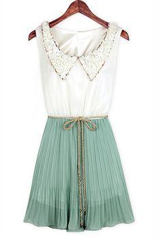 Imperial Soirée Vintage Collar Accordion Dress in Mint Tea | Sincerely Sweet Boutique