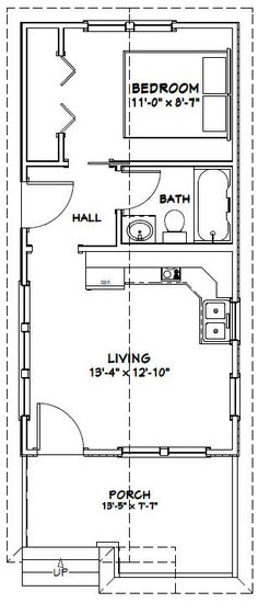16x32 1 bedroom house --  16x32h1a