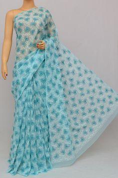 Sea Blue Color Multi Thread Hand Embroidered Lucknowi Chikankari Saree (With Blouse - Georgette) Trendy Sarees, Stylish Sarees, Tussar Silk Saree, Cotton Saree, Saree Floral, Wedding Silk Saree, Plain Saree, Designs For Dresses, Saree Look
