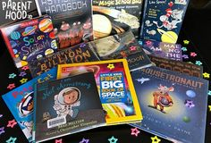 Introduce your kiddos to all of the magic, wonder, and mystery of outer space.while reading Our Favorite Space Books! Cardboard Rocket, Diy Cardboard, Calm Down Bottle, Brad Meltzer, Pete The Cats, Black History Books, Space Books, Magic School Bus, Preschool Class