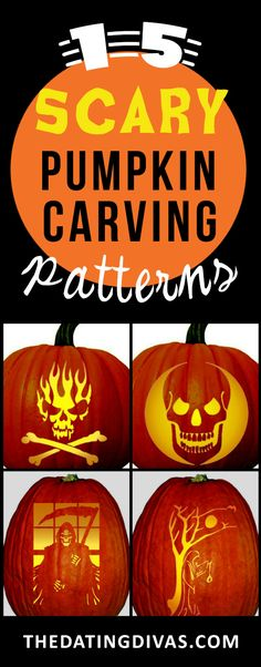75 free pumpkin carving patterns - Scary Halloween Pumpkin Faces
