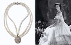 JEWELLERY AND FABERGE, FROM THE COLLECTION OF H.R.H THE PRINCESS MARGARET, COUNTESS OF SNOWDON: A PEARL AND DIAMOND NECKLACE. The three graduated rows of pearls to the circular openwork vari-cut diamond pendant and geometric diamond clasp.