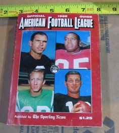 VINTAGE AMERICAN FOOTBALL LEAGUE 1968 OFFICIAL GUIDE SPORTING NEWS SPORTS