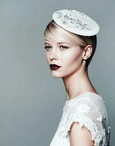 Modern bridal look with dark lips