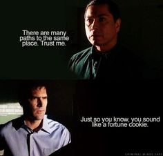"This was a classic scene from the show showing a rare instance of Hotch's great sense of humor.~~ ""The Tribe"""