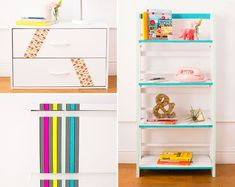 Revamp furniture with washi tape - bookcase edges