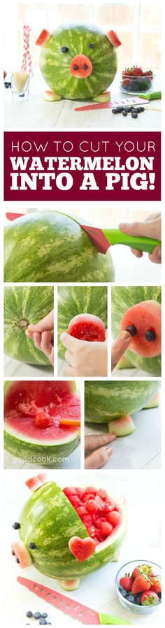 10 Watermelon Carving Ideas and Tutorials Watermelon is refreshing and delicious to eat. Here are 10 Watermelon Carving Ideas and Tutorials that you can use for your next party. Watermelon Pig, Watermelon Carving Easy, Watermelon Basket, Watermelon Ideas, Pig Roast Party, Snacks Saludables, Food Carving, Pig Birthday, Moana Birthday