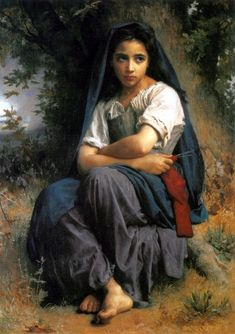 The Little Knitter-William Adolphe Bouguereau (1825 – 1905, French)