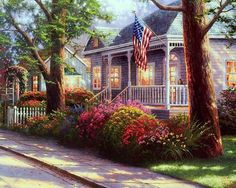 Thomas Kinkade Plaid Paint By Number, Paint By Number Kits, Thomas Kinkade Art, Kinkade Paintings, Oil Paintings, Thomas Kincaid, Art Thomas, Pics Art, Beautiful Paintings