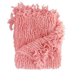 "Perfect draped over the sofa or at the foot of your bed, this cozily textured throw features a ruffled design and fringed trim.  Product: ThrowConstruction Material: PolyesterColor: PinkFeatures:  Ruffled designFringed trimDimensions: 70"" x 50"""