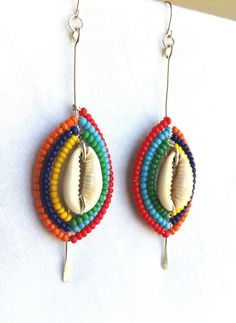 MAASAI SILVER DROPS  Cowrie Shell Wrapped by ZuriEarthlyDesigns, $86.00