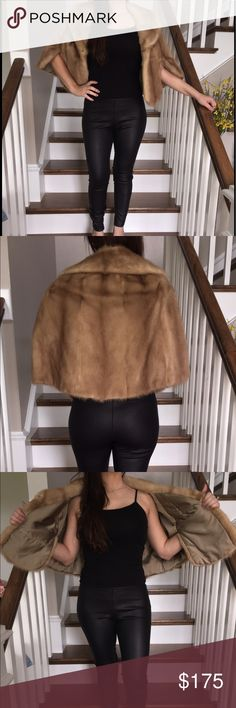 🔥Vintage Fur Stole 😍 GORGEOUS Vintage 💯 Fur Stole.Varied Honey color. No arm holes, sits on shoulders. Dresses up any outfit! Can fit small-large build! 🔥 Vintage owners name is embroidered in the interior, same color as inside. Jackets & Coats