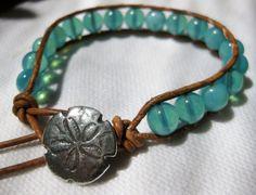 Sand Dollar Wrap - blue coastal leather wrap bracelet.
