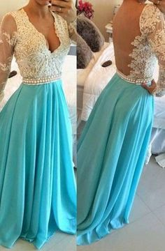 A-line V Ncek Chiffon Long Sleeves Backless Prom Dresses Evening Dresses PG284