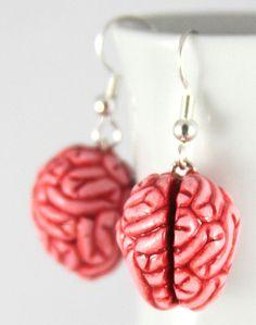 MMmmmm Brains Earrings Jewelry Handmade by NeverlandJewelry, $18.00