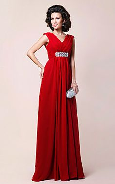 Sheath/Column V-neck Floor-length Draped Chiffon Mother of the Bride Dress