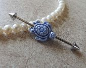 Industrial Barbell With Light Blue Stone Turtle Body Jewelry Ear Jewelry Double Piercing