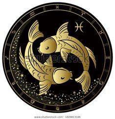 Стоковая векторная графика «Pisces Zodiac Sign Golden Circle On» (без лицензионных платежей), 1609813186 Pisces Zodiac, Horoscope, Zodiac Signs, Golden Circle, Illustration, Clock, Image, Pop, Pictures