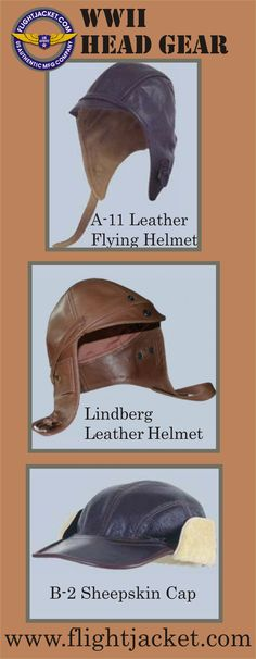 A-11 Helmet is made from goatskin lined with chamois suede and has an elastic back. The Lindberg Leather Helmet is made of vintage goatskin. It is fully lined with 100% cotton lining. It has a goggle strap, a front leather brow with a snap, and ear flaps that snap open with holes for a head set. The B-2 sheepskin cap was worn by the crews of the US Army Air Corp in WWII. It's made of domestic shearling and the visor is from cowhide. All Mil. Spec. MADE IN THE USA