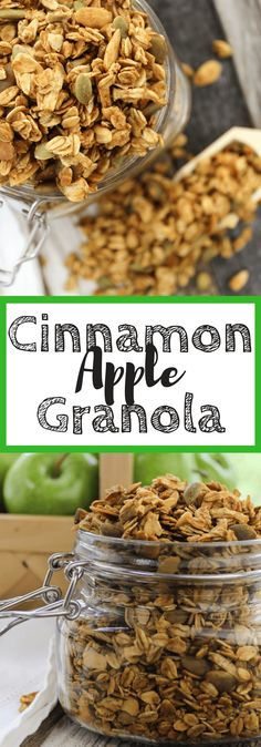 Cinnamon Apple Granola #fallrecipe , snacks, breakfast